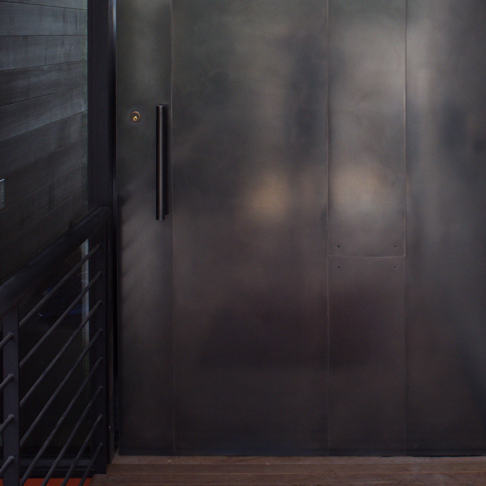 Cold Rolled Steel Panel ~ Blackened stainless steel door pivot